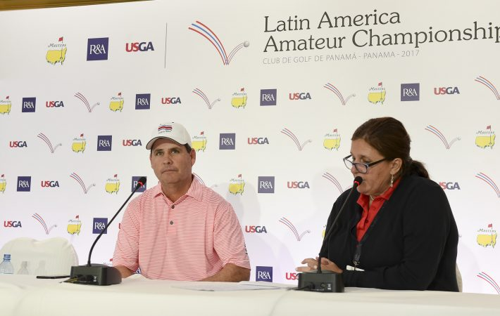 Panama City, Panama:Alvaro E. Ortiz of Costa Rica pictured at the 2017 Latin America Amateur Championship at the Club de Golf de Panama during Round two on January 13th . (Photo by Enrique Berardi/LAAC)