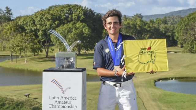 Panama City, Panama:Tomas Gana of Chile winner of the 2017 Latin America Amateur Championship at the Club de Golf de Panama during Round Four on January 15th . (Photo by Enrique Berardi/LAAC)