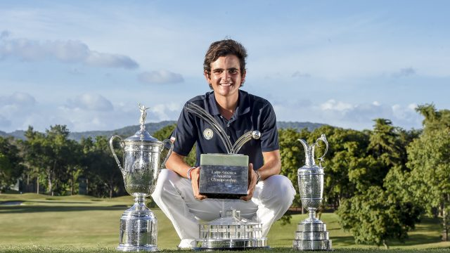 Panama City, Panama:Tomas Gana of Chile Prize Ceremony and Trophies pictured at the 2017 Latin America Amateur Championship at the Club de Golf de Panama during Round Four on January 15th . (Photo by Enrique Berardi/LAAC)